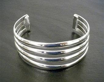 Silver Overlay Cuff Four Bar Design Silver Bracelet
