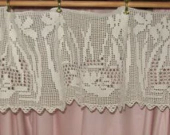 Beautiful old curtain lace valance, iris