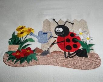 Embroidered, Flour Sack Towel, Ladybug Towel, Ladybug Planting, Absorbent, White Cotton,  Gift