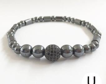 Micro Pave CZ Beaded Bracelet