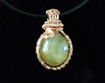 Prehnite copper pendant
