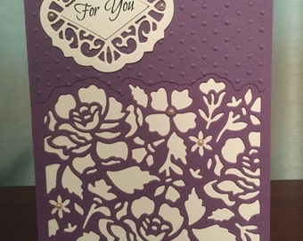 For You greeting card in plum and ivory