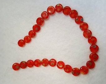 Red coin beads with flowers (kp)