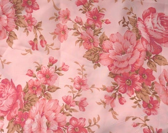 "SHABBY ROSES 1950s FABRIC..2.5m..98""..unused original vintage nylon..lingerie..petticoat..nightie..slip..retro rockabilly..pink rose flowers"