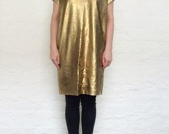 gold tunic, tunic dress, oversiezed dress