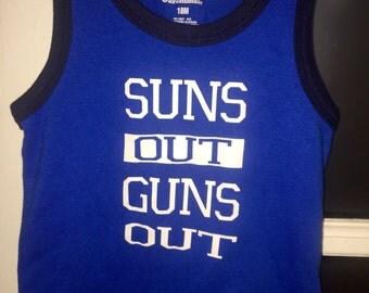 Suns out guns out baby boy tank top