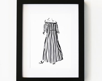 Stripes, Fashion Art Print, Illustration Art Print, Room decor, Gifts For Her, Wall Art, Poster