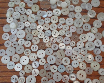 170 White Mix Buttons Vintage Buttons Assorted White Buttons Vintage Button Lot
