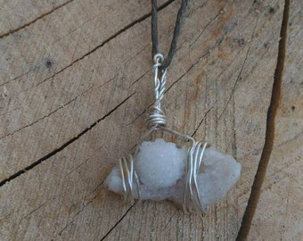 Sterling Silver Wrapped Drusy Quartz Pendant