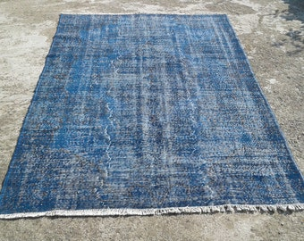 """Big Sale %50 off overdyed rug,anatolian vintage turkish rugs,decorative area rugs,handwoven carpets,natural wool carpet 6'1""""x 8'11"""" ft"""