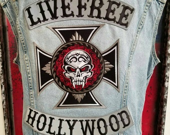 SoCalOutlawDenim Livefree Hollywood hand studded vest