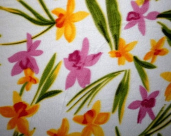 Flowers Mixed Orchids Fleece Fabric - By the Yard