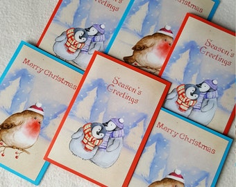 Set of 6 cute christmas cards (2 designs)