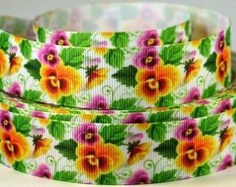 "1"" Colorful Pansies - Pretty Flowers - Grosgrain Ribbon"