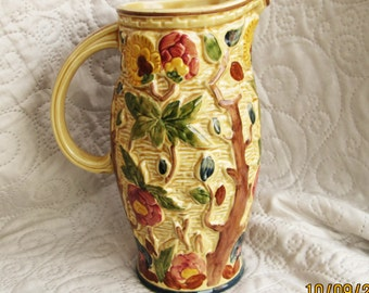 Staffordshire Pottery, english pottery, 1940's pottery, vintage pitchers, floral pottery