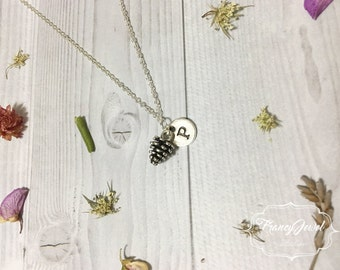 Pinecone necklace, initial necklace, mini pinecone, pine cone necklace, nature jewelry, nature necklace, sterling silver, minimalist