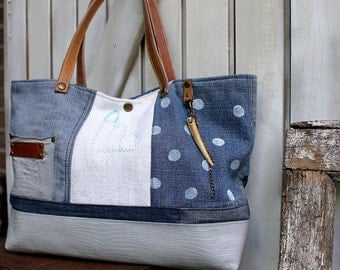 Patchwork style tote bag, blue and white, polka dots, leather handles