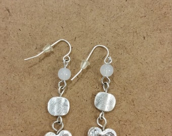 Silver heart earings