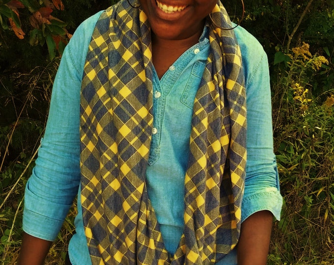READY TO SHIP Yellow and Gray Plaid infinity scarf
