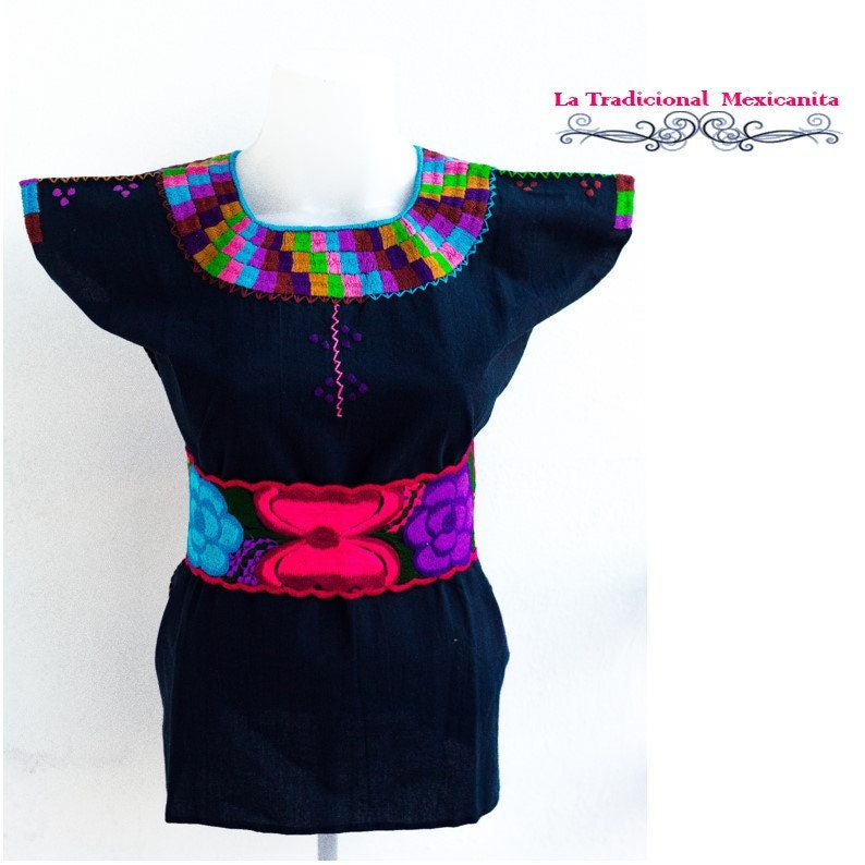 Mexican embroidered blouse and belt