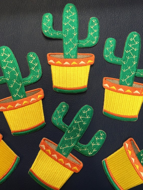 Pastel Cactus embroidered Iron-on Patch