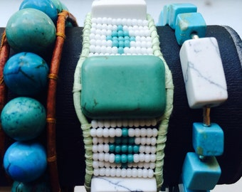 White Tribal Single Wrap Bracelet on Green Leather