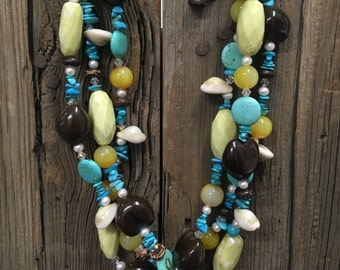 Turuqoise, Shell + Kukui Nut Necklace