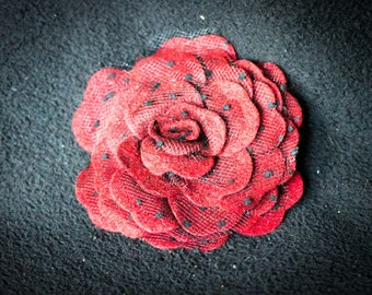 Burgundy Felt Rose Hair Clip