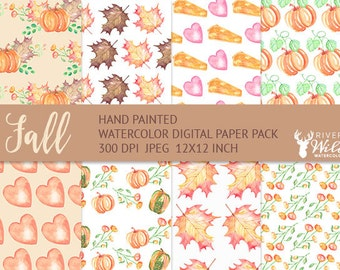 Fall Digital Paper Pack, Watercolor Hand Painted Fall Digital Graphics, JPG, Commercial Use Art, Fall Pumpkin Leaves Foliage Pumpkin Pie Art