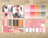Black, Pink & Rose Watercolour 4 Page Weekly Kit for Erin Condren Vertical LifePlanner