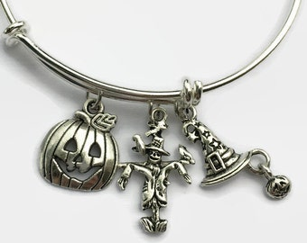HALLOWEEN BRACELET -Halloween Gift For Her - Halloween Jewelry - Halloween - Gifts For Her - Halloween Gift - Scarecrow - Witch Hat