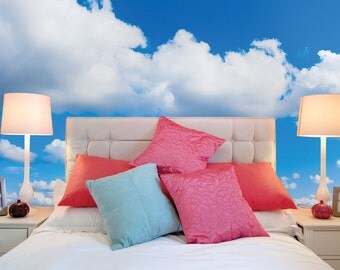 White Fluffy Clouds In The Blue Sky Wall Mural