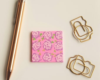 Floral Magnet - Pink and Purple Magnet - Refrigerator Magnet - Flower Magnet - Pink Flower Magnet