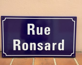 French Street Enameled Sign Plaque - rare AWESOME RONSARD