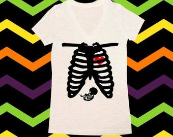 Skeleton Shirt, Maternity Skeleton Shirt, Halloween Shirts, Womens Halloween Shirts, V-Neck, Skeleton Maternity Shirt