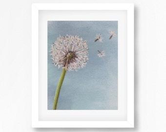 Dandelion Art Print, Dandelion Painting, Dandelion Artwork, Dandelion Pastel Painting, Flower Pastel, Floral Decor, Dandelion Wall Art