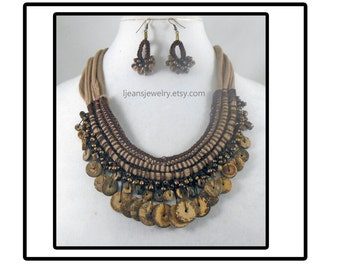 Shades of Brown Crochet Wooden beaded Necklace and Earring Set