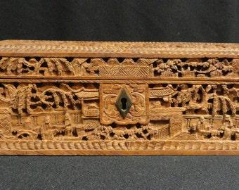 Vintage Chinese Wood Carved Box