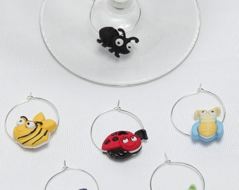 Small mosquitoes, identifiers wineglasses, great gift, hostess, Anniversaires.Cet set includes 6