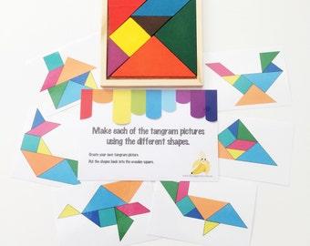 Busy Bag - Tangram Activity Kit - Banana - Toddler Gift - Preschool Activities - Activity Bag - Toddler Travel - Kids Gift - Montessori