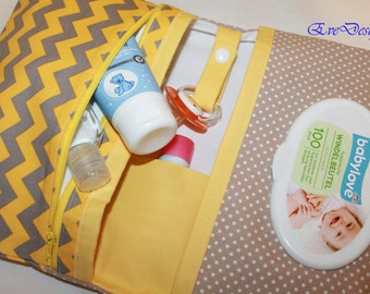 Nappy Wallet (yellow-gray fabric, white dots)