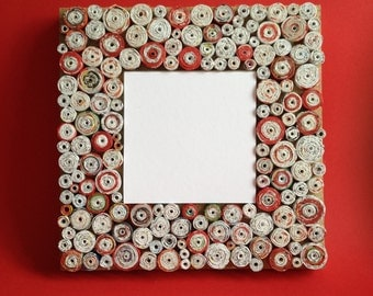 Handmade Mirror made of Recycled Paper,Red and white,Square, ,Unique,Decoration,Home,Office,Gift for Her,Christmas Gift