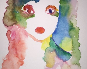 Abstract Watercolor Girl