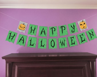 Happy Halloween Party Banner - GREEN Swirls