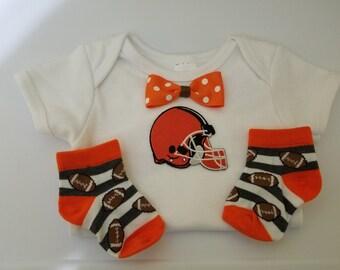 NFL Cleveland Browns baby boy onesie- Browns baby boy shower gift-baby browns outfit-browns baby boy game day outfit-infant browns outfit