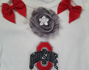 baby girl Ohio State outfit with headband and socks-Baby girl osu outfit-Osu baby girl gift-Ohio state infant one piece-osu romper