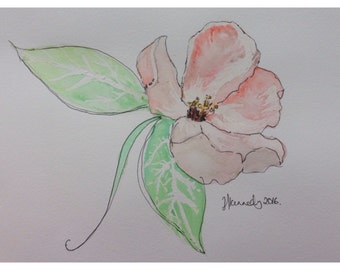 Oringinal or print of watercolour painting of a pink flower