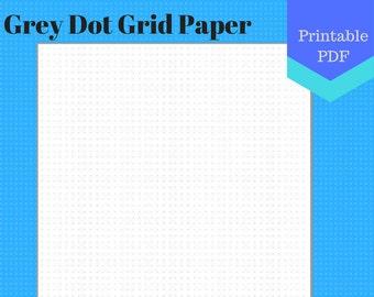 PRINTABLE Grey Dot Grid Paper, letter, jr, half, happy