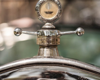 Vintage Ford Hood Ornament: WALL ART Fine Art Photography Vintage Classic Ford Automobile Car Elegant Silver Green Bokeh Soft Light