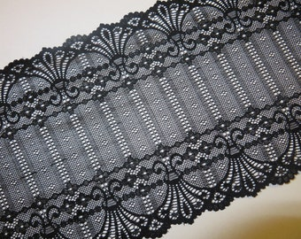 2m black stretch lace 17cm wide Art Nouveau